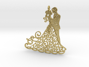 Dancing couple pendant in Natural Brass