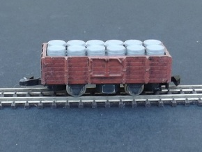 Wagon Set 3 - 3 x Tombereau - Nm - 1:160 in Smooth Fine Detail Plastic