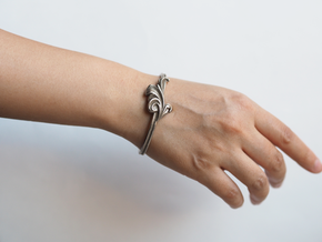 Acanthus Leaf Bangle Cuff in Polished Bronzed-Silver Steel: Small