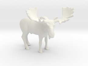 HO Scale Moose in White Natural Versatile Plastic