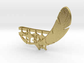 """Feather and 9 Stars"" Collar Clip in Natural Brass"