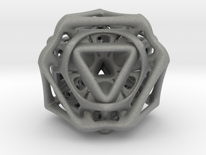 Ported looped Tetrahedron color 8.5x7.3x8 cm  in Gray Professional Plastic