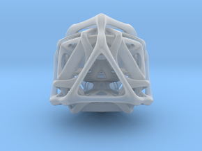 Ported looped Tetrahedron steel 8.5x7.3x8 cm in Smooth Fine Detail Plastic