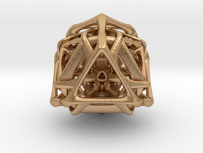 Ported looped Tetrahedron steel 8.5x7.3x8 cm  in Natural Bronze