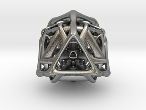 Ported looped Tetrahedron steel 8.5x7.3x8 cm  in Natural Silver