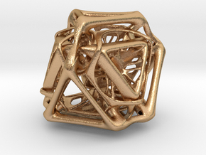 Ported looped Tetrahedron Plastic 5.6x4.8x5.3 cm  in Natural Bronze