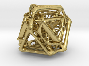 Ported looped Tetrahedron Plastic 5.6x4.8x5.3 cm  in Natural Brass