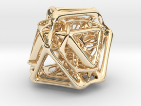 Ported looped Tetrahedron Plastic 5.6x4.8x5.3 cm in 14k Gold Plated Brass