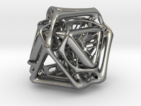 Ported looped Tetrahedron Plastic 5.6x4.8x5.3 cm  in Natural Silver