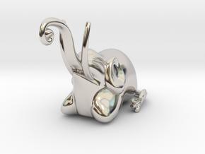 Jakuchu Elephant in Rhodium Plated Brass