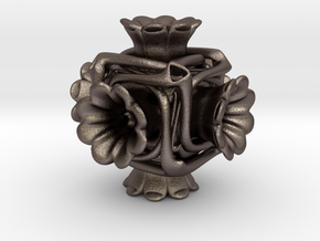 Cubeoctahedral flower  in Polished Bronzed-Silver Steel