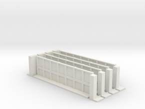 Low Wall Set with Corner Bases 28mm in White Natural Versatile Plastic
