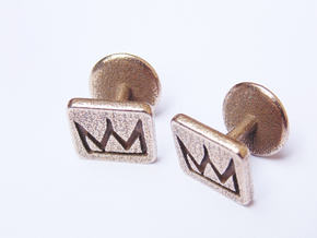 Oracle Cufflinks in Polished Bronzed Silver Steel
