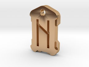 Nordic Rune Letter H in Polished Bronze