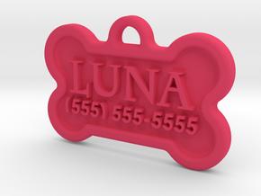 Dog Tag Luna in Pink Processed Versatile Plastic