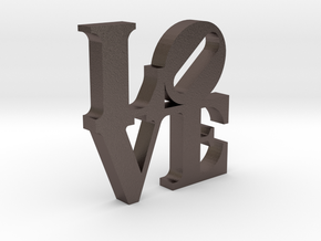 LOVE Sculpture 2 in Polished Bronzed Silver Steel