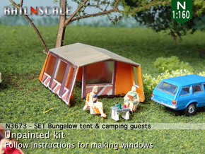 SET Bungalow tent with camping guests (N 1:160) in Smoothest Fine Detail Plastic
