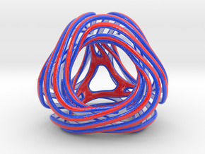 Looped Tetrahedron colored in Glossy Full Color Sandstone
