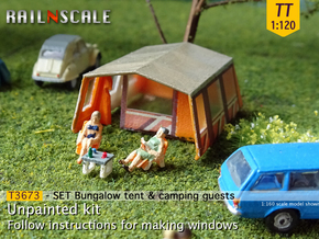 SET Bungalow tent with camping guests (TT 1:120) in Smooth Fine Detail Plastic