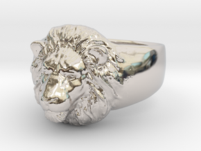 Lion Ring (size11) in Rhodium Plated Brass