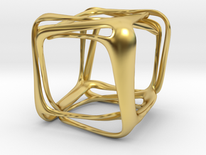 Twisted Looped Cube in Polished Brass (Interlocking Parts)