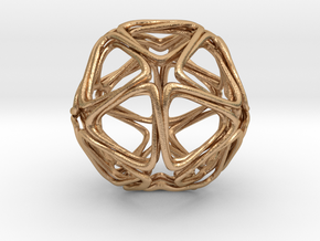 Icosahedron Looped  in Natural Bronze