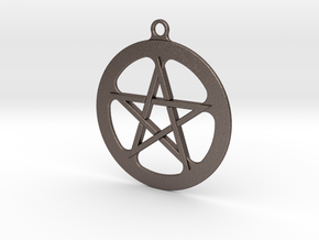 Pentacle Keyfob 001 in Polished Bronzed-Silver Steel