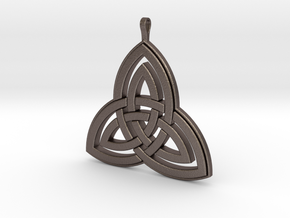 Double Trefoil 001 in Polished Bronzed-Silver Steel