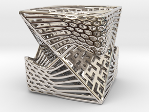 Tetrahedron inside Cube in Rhodium Plated Brass