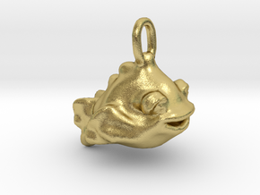 Happy Goldfish Pendant Charm in Natural Brass