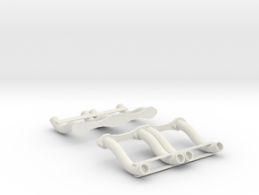 1:8 Custom Straight Pipes for Small Block Chevy in White Natural Versatile Plastic