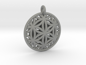 Flower of Life Pendant Type 2 in Gray Professional Plastic