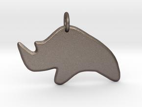 Minimalist Rhino Pendant in Polished Bronzed-Silver Steel