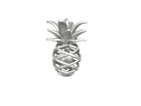 Pineapple Turtle Pendant in Polished Bronzed-Silver Steel