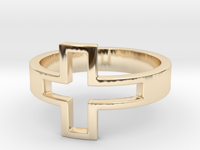 Cross Ring Size 7 in 14k Gold Plated Brass