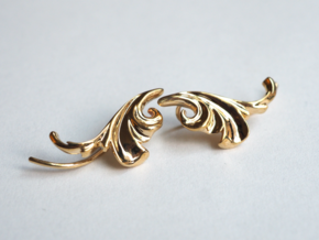 Acanthus Leaf Ear Climber in Polished Brass