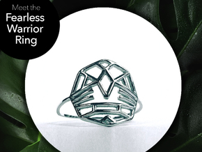 Fearless Warrior Ring (Medium) in Rhodium Plated Brass