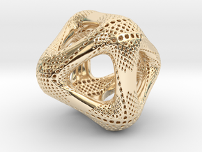 Perforated Octahedron in 14k Gold Plated Brass