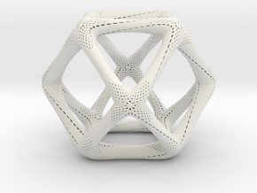 Perforated Cuboctahedron in White Natural Versatile Plastic