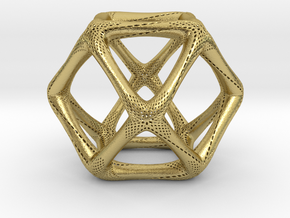 Perforated Cuboctahedron in Natural Brass