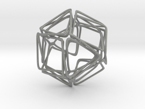 Looped Twisted Cuboctahedron in Gray Professional Plastic