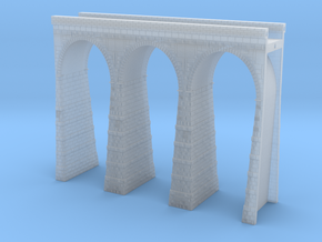 T-scale Stone Viaduct Section (3 Arches) - 90mm St in Smooth Fine Detail Plastic