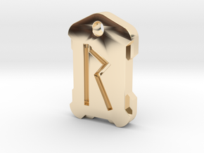 Nordic Rune Letter R in 14k Gold Plated Brass