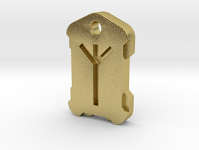 Nordic Rune Letter X in Natural Brass