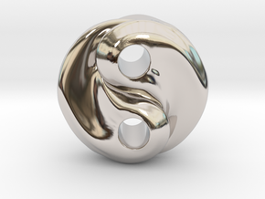 Fire and water yin yang in Rhodium Plated Brass