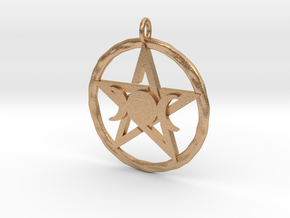 Pentacle with triple Goddess pendant in Natural Bronze
