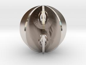 Yin yang sphere in Rhodium Plated Brass