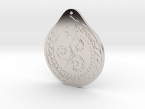 Serpent Triskelion pendant  Fire and water in Platinum