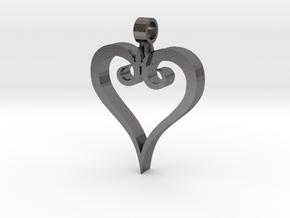 Heart Pendant in Polished Nickel Steel