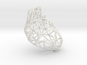 Lattice heart density 10 in White Natural Versatile Plastic